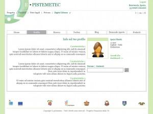 Esempio di layout per l'ambiente didattico e-pistemetec